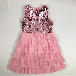 NWOT Chasing Fireflies Pink Sequin Tiered Dress